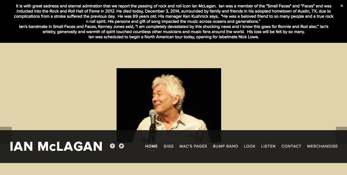 スモール・フェイセスやフェイセズのキーボード・プレイヤーだったイアン・マクレガン(Ian McLagan)が死去のニュース。享年69歳