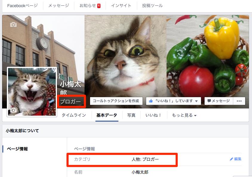 知らなかった、Facebookページのカテゴリは後から変更できるんだ。しかも「ブロガー」という項目もある